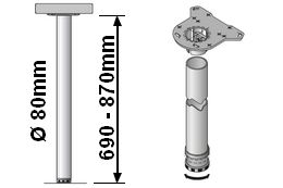 Tischbeinlänge 690-870mm
