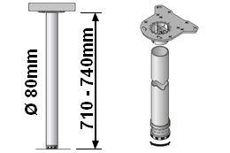 Tischbeinlänge 710-740mm