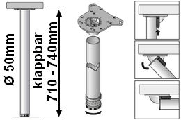 Tischbeinlänge 710-740mm klapp