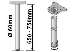 Tischbeinlänge 650-750mm