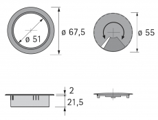 Kabeldurchlass 60mm Buche Optik