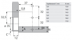 Klappenscharnier Markant 7.1 (Garnitur)