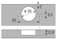 Topfscharnier sensys 8645i 110° (Außenseite) in obsidianschwarz