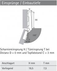 Topfscharnier Intermat 9943  110° (Außenseite)