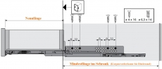 Holzschubkasten Nennlänge 600mm  Breite 301 bis 400mm