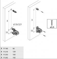 Set ArciTech 186mm mit Rehling - Nennlänge 300mm - variable Korpusbreite, silber