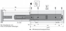Kugelauszug KA 3320 Vollauszug 760mm (Garnitur)