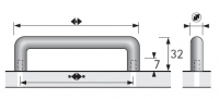 Möbelgriff -Avenio-  Bohrabstand 96mm  Chrom matt