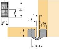 Einbohr- Zylinderscharnier Excellent 10mm