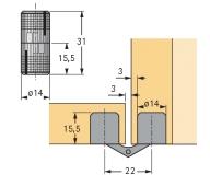 Einbohr- Zylinderscharnier Excellent 14mm