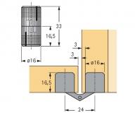 Einbohr- Zylinderscharnier Excellent 16mm