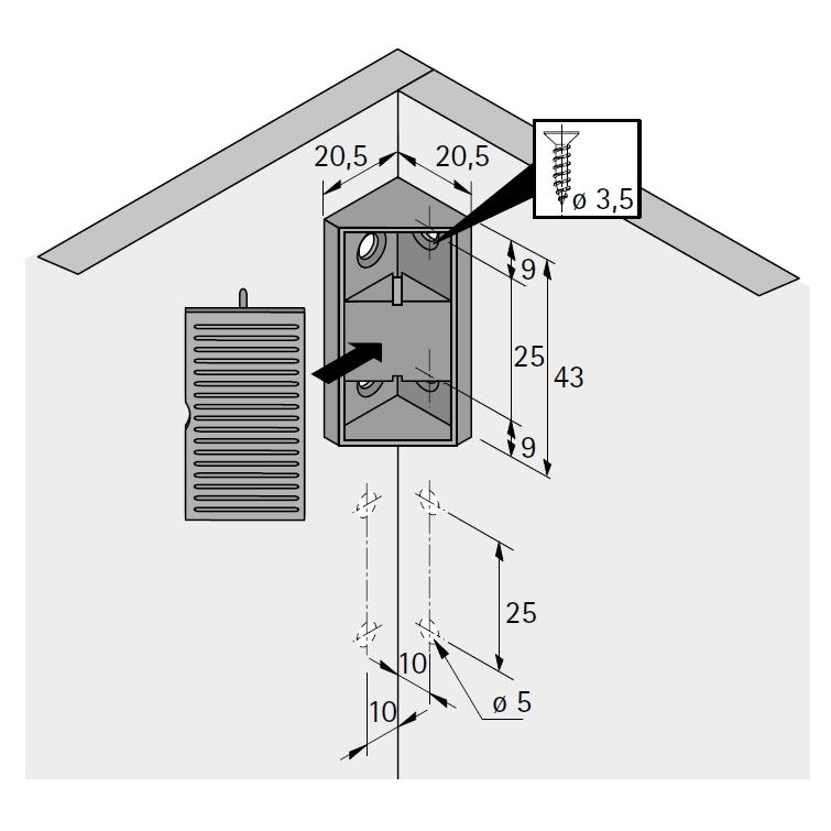 universal eckverbinder wei aus kunststoff zum anschrauben selbst. Black Bedroom Furniture Sets. Home Design Ideas