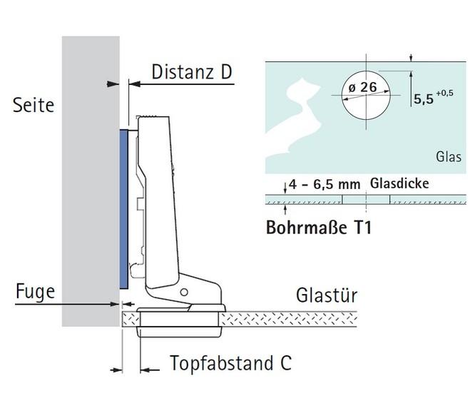 glast rscharnier intermat 9904 95 einliegende t r selbst. Black Bedroom Furniture Sets. Home Design Ideas