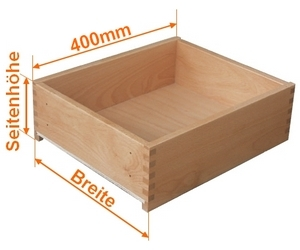 Holzschubkasten Nennlänge 400mm  Breite 301 bis 400mm