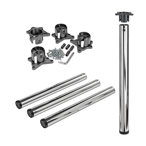Tischbeine ø60mm x 710mm aus Stahl Oberfläche Chrom (Set)