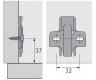 Anschraub-Kreuzmontageplatte 0mm für Senkholzschrauben