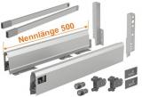 Set ArciTech 186mm mit Rehling - Nennlänge 500mm - variable Korpusbreite, silber