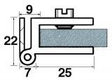Glastürscharnier 25/25 verchromt poliert, zum Anschrauben  (Stück)