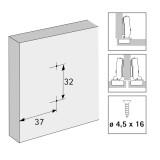 Anschraub-Kreuzmontageplatte 5mm für Senkholzschrauben