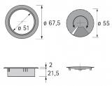 Kabeldurchlass 60mm Chrom Optik matt