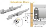 Actro mit Silent System für ArciTech Nennl. 500mm, Korpusseite 18mm, 40kg