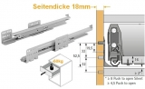 Actro mit Silent System für ArciTech Nennl. 500mm, Korpusseite 18mm, 70kg