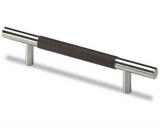 Möbelgriff -Byzantia- Stahl / Leder dunkelbraun  160mm