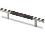 Möbelgriff -Byzantia- Stahl / Leder dunkelbraun gemustert  128mm