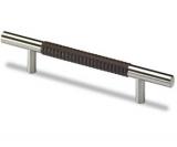 Möbelgriff -Byzantia- Stahl / Leder dunkelbraun gemustert  160mm
