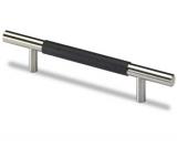 Möbelgriff -Byzantia- Stahl / Leder schwarz  128mm