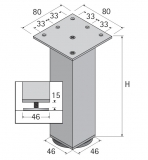Möbelfuß Lano SQ 46 aus Aluminium poiert 100mm