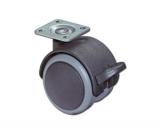 Doppelrolle für Hartböden mit Feststeller  Rad 50mm