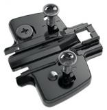 Anschraub-Kreuzmontageplatte Direkt 1,5mm mit Spezialschrauben in obsidianschwarz