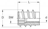 Gewindemuffe Typ SK   M6   Länge 15mm