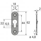Linsenkopfbeschlag 62mm