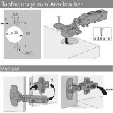 Topfscharnier sensys 110° ohne Schließautomatik (Außenseite)