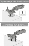 Topfscharnier sensys 8645i 110° (Mittelseite)