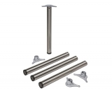 Tischbeine ø60mm x 710mm aus Stahl Oberfl. Edelstahloptik (Set)