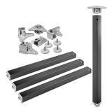 Tischbeine 50/50mm x 710mm schwarz matt (Set)
