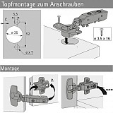 Topfscharnier sensys 8645i 110° (Außenseite)