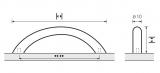 Möbelgriff -Nicia-  Bohrabstand 96mm  Edelstahl Optik