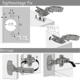 Topfscharnier sensys 8645i FIX 110° (Außenseite)