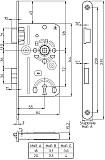 ZT-Einsteckschloss Typ 10, BB Dorn 55 mm, N=8 mm, DIN Ls Stulp 20 x 235 mm